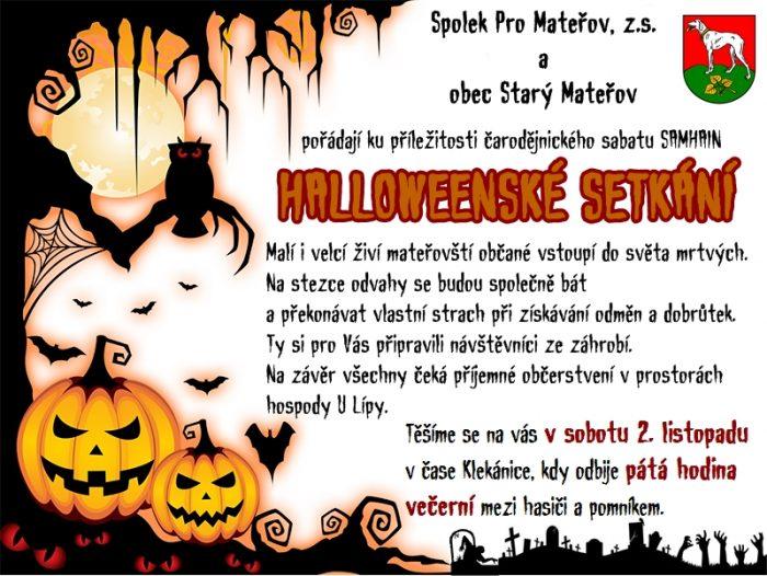 Pozvánka na halloweenské setkání – sobota 2. 11. 2019 od 17:00 hodin